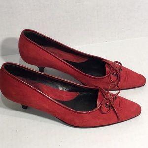 VIA SPIGA Red Suede Low Heel Pumps